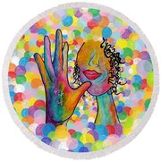 Asl Mother On A Bright Bubble Background Round Beach Towel by Eloise Schneider