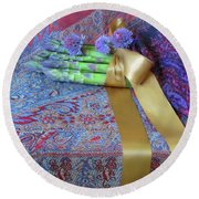 Round Beach Towel featuring the photograph Asparagus And Cornflowers, Garden Blessings by Nancy Lee Moran