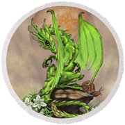 Asparagus Dragon Round Beach Towel by Stanley Morrison