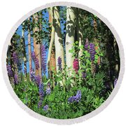 Round Beach Towel featuring the photograph Aspen And Lupine by Marilyn Hunt