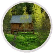 Round Beach Towel featuring the photograph Aspen Cabin by Leland D Howard