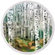 Aspen-green-blue Round Beach Towel by Tim Gilliland