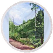 Round Beach Towel featuring the painting Aspen Heaven by Jane Autry