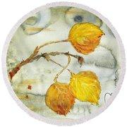 Aspen Leaves Round Beach Towel