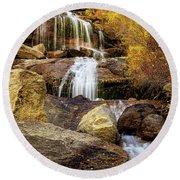 Aspen-lined Waterfalls Round Beach Towel