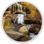 Aspen-lined Waterfalls Round Beach Towel