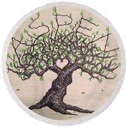 Round Beach Towel featuring the drawing Aspen Love Tree by Aaron Bombalicki