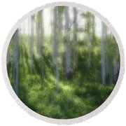 Aspen Morning 2 Round Beach Towel