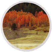 Aspen, October, Hope Valley Round Beach Towel by Michael Courtney
