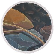 Aspen Rain Branch Round Beach Towel
