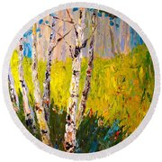 Round Beach Towel featuring the painting Aspen Spring by Alan Lakin