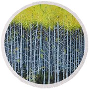 Aspen Stand The Painting Round Beach Towel