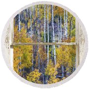 Aspen Tree Magic Cottonwood Pass White Farm House Window Art Round Beach Towel