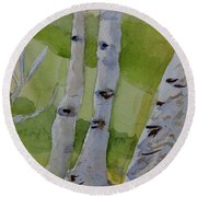 Round Beach Towel featuring the painting Aspen Trunks by Beverley Harper Tinsley