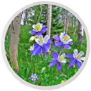 Aspens And Columbines Round Beach Towel