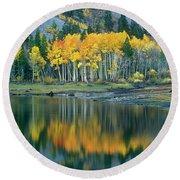 Aspens In Fall Color Along Lundy Lake Eastern Sierras California Round Beach Towel