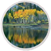 Aspens In Fall Color Along Lundy Lake Eastern Sierras California Round Beach Towel by Dave Welling
