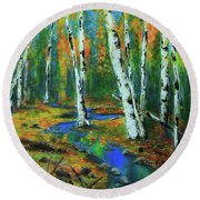 Aspens Round Beach Towel by Jeanette French