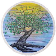 Round Beach Towel featuring the drawing Aspire Love Tree by Aaron Bombalicki