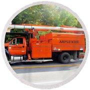 Asplundh Tree Expert Company Trucks Round Beach Towel
