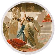 Assassination Of Julius Caesar Round Beach Towel