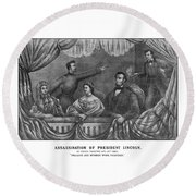 Assassination Of President Lincoln Round Beach Towel