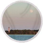 Assateague Light And The Full Moon Round Beach Towel