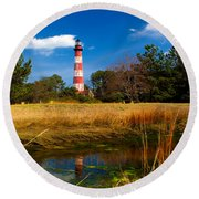 Assateague Lighthouse Reflection Round Beach Towel