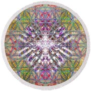 Round Beach Towel featuring the digital art Assent From The Womb In The Flower Tree Of Life by Christopher Pringer