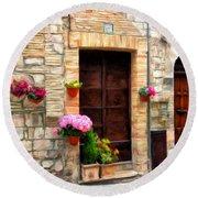 Assisi Doorways Round Beach Towel
