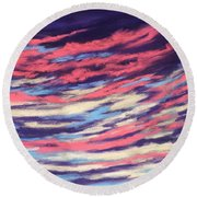 Round Beach Towel featuring the painting Associations - Sky And Clouds Collection by Anastasiya Malakhova