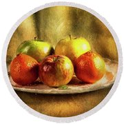 Assorted Fruits In A Plate Round Beach Towel