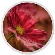 Aster Red Painterly #h1 Round Beach Towel
