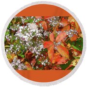 Round Beach Towel featuring the photograph Asters And Creeper by Betsy Zimmerli