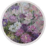 Asters And Stocks Round Beach Towel