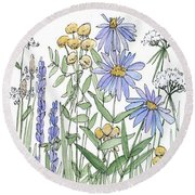 Asters And Wildflowers Round Beach Towel