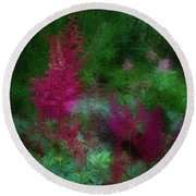 Round Beach Towel featuring the photograph Astilbe In The Garden by Ann Jacobson