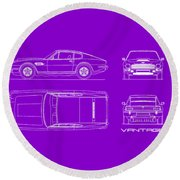 Aston Martin V8 Vantage Blueprint Round Beach Towel