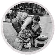 Bag Lady Round Beach Towel