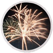 Round Beach Towel featuring the photograph Astoria Park Fireworks 2 by Jim Poulos