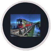 Astoria Riverfront Trolley Round Beach Towel