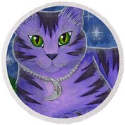 Astra Celestial Moon Cat Round Beach Towel