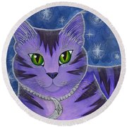 Astra Celestial Moon Cat Round Beach Towel