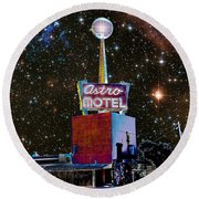 Round Beach Towel featuring the photograph Astro Motel by Jim and Emily Bush