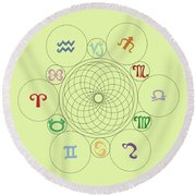 Astrological Sacred Geometry Image Round Beach Towel by Shelley Overton
