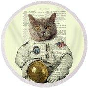 Astronaut Cat Illustration Round Beach Towel