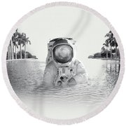 Astronaut Round Beach Towel by Fran Rodriguez