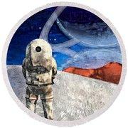 Astronaut On Exosolar Planet Round Beach Towel