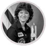 Astronaut Sally Ride  Round Beach Towel