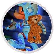 Astronaut Training Bear Mp Round Beach Towel